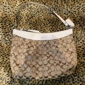 Coach - monogram and white trim hobo bag